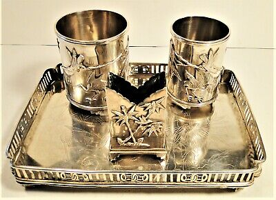 Rare Unusual Finely Crafted Chinese Export Silver Smoking Set On Tray Qing 380 G