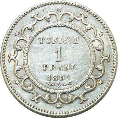 P4596 Tunisia 1 Franc Mohamed El-Naceur Bey 1891 AH 1308 Paris Silver -> M offer