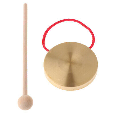 21cm Hand Gong Copper Cymbals with Wooden Stick Percussion Kids Music Toys Oy