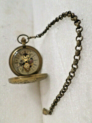 "Engraved Hunter Case Mechanical Pocket Watch-Visible Escapement--10"" Chain"