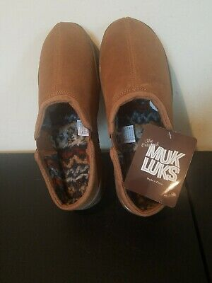 Muk-Luks ,Brown,Suede Clog,fur lined slippers, Size 11