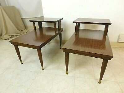 Pair Vintage Retro Mid Century Modern 1960s Floating Step End Side Tables