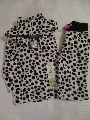 Girls Jumping Beans 9 Months Outfit Hoodie Pants White Black Animal Poly Fleece