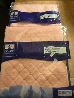 Pair Of New Unopened Senset One Way Pink Quilted  Premium Bed Pads.