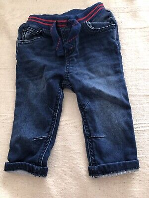 TU From Sainsbury's Dark Blue Red Denim Boys Elasticated Jeans Age 3-6 Months