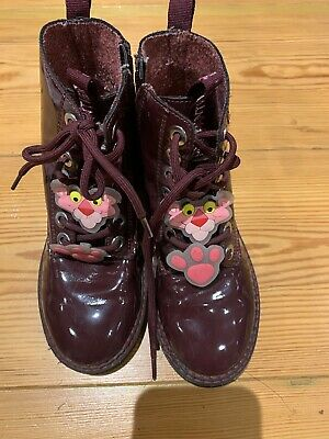 ZARA GIRLS SIZE 32/ 1uk Burgundy Pink Panther FAUX PATENT BOOTS USED IN EX.COND