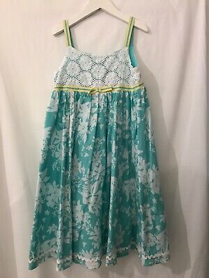 Girls Monsoon Blue & White Flowery Dress Age 6-7yrs - Used in Good condition