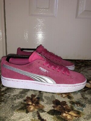 Girls PUMA SUEDE Pink Trainers Uk Size 3