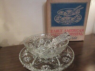 Vintage - Anchor Hocking - Early American Prescut Crystal - 4 pc. Salad Set