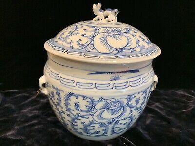"""Antique Chinese blue white porcelain covered pot 8"""" Qing wax seal authenticity"""