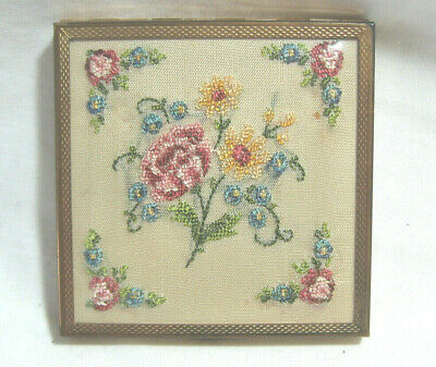 Vintage Square La Rage Gold Powder Compact with Embroidered Silk Flowers