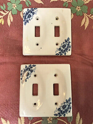 Lot Of 2 Vintage Ceramic Switchplates Fits Double Light Switch White Blue Floral