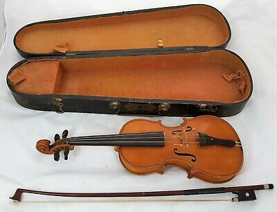 Antique 1/16 Size Childs Violin with Wooden Case