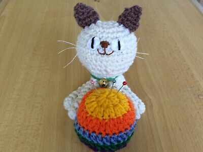 Crochet Cat Pin Cushion Plush Doll Great Gift or Home Decoration