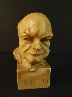 Winston CHURCHILL Bust On Square Base Made In England 1945-50