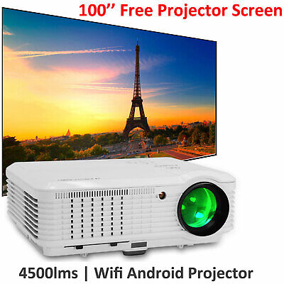 Android HD LED Smart Projector 4500LM Home Theater Online HDMI and Screen 100''