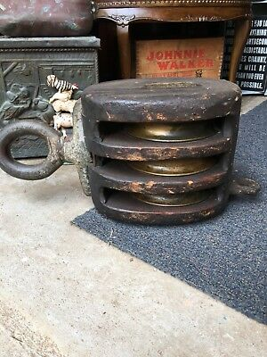 2 Antique Block And Tackle / Triple Brass Wheels