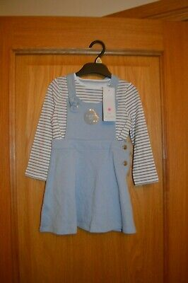 Girls 2 Piece Outfit Set Pinafore & Long Sleeve Stripe Top BNWT Age 2 - 3 years
