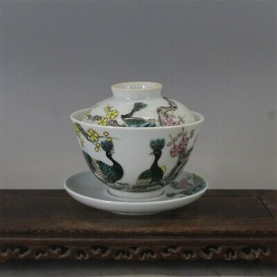Old Guangxu marked famille rose Porcelain hand painting flower Peafowl cup 4.3""