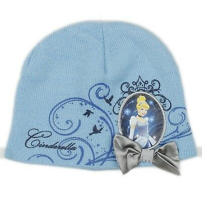 Disney Princess Little Girls Cinderella Blue Satin Bow Beanie Hat One Size