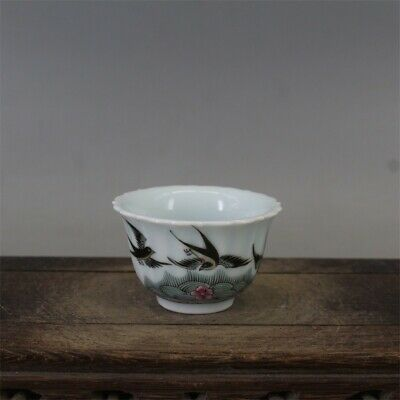 Tongzhi marked famille rose Porcelain hand painted Swallow flower tea cup 2.6""