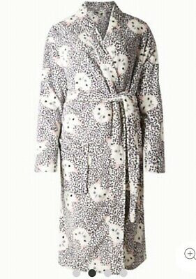 M&S Cute Cat Print Dressing Gown Robe Soft Fleece Size 8-10 New With Tags