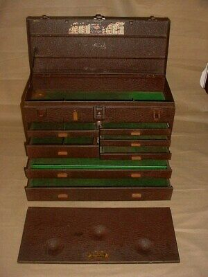 NICE! Vtg. Kennedy Kits #520 Machinist Tool Chest 7 Drawer Brown Toolbox