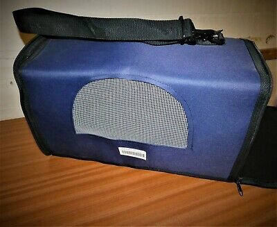 New Small Pet Canvas Carrier in Navy Blue for travel with mesh windows