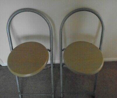 2 Bar Stools Metal Frame Wooden Pine Coloured Seats apr H 55cm Total H 76cm