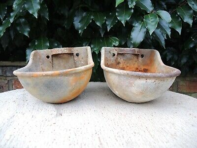 Two Vintage Galvanised Water Drinkers Garden Planters Wall Planters  (1212)