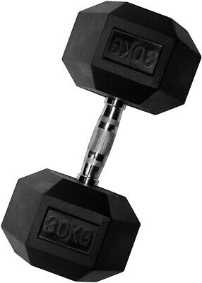 30KG Rubber Encased Dumbbell Hex Weights Gym Fitness/Workout/Weight Lifting