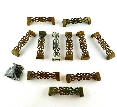 11 Antique Solid Brass handles for Chest Drawers Ornate Floral Vintage W/ Screws