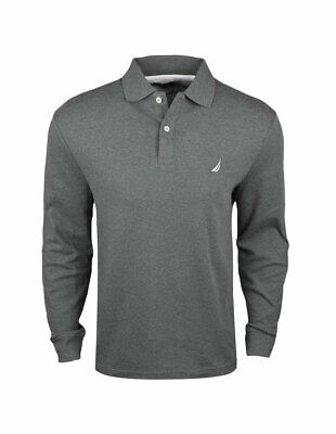 New Nautica- Men's Long Sleeve Solid Interlock Polo Charcoal Heather Medium