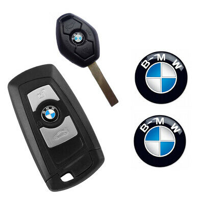 2 X Remplacement BMW REMOTE KEY FOB BADGE 3D Emblem Sticker Decal 11 Mm Round