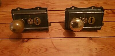 2 Edwardian Rim Lock with brass knobs. Refurbished not repro.