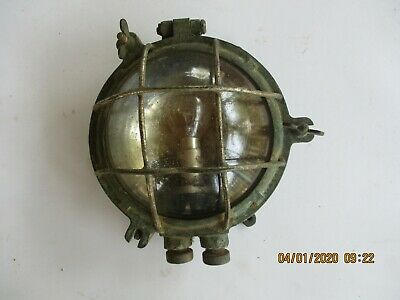 Vintage Antique Boat Lamp Light Bulkhead Ceiling W/protector Grille Very Old