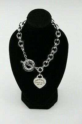 Tiffany & Co Sterling Silver 925 Heart Tag Toggle Necklace 16""