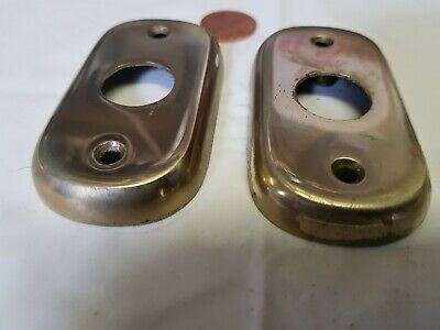 2 x Vintage CAST BRASS BACK PLATE for GLASS or brass door knobs LARGE 75 x 42mm