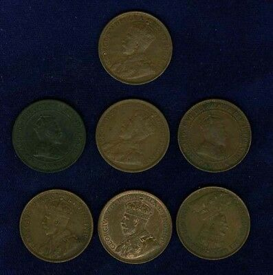 Canada Large Cent Coins: 1903, 1906, 1911, 1913, 1916, 1917, & 1918, Lot Of (7)
