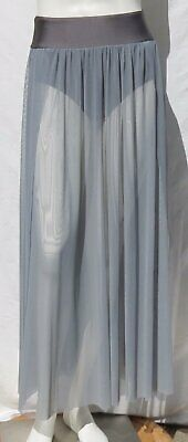 DOUBLE PLATINUM Dancewear Gray Leotard Brief Long Skirt Mesh sz USA S M EUC