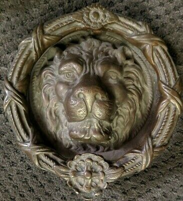 Antique Victorian English Bronze Lion's Head Portal Door Knocker