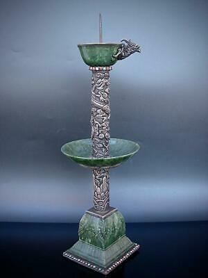 Good Antique Chinese Silver & Spinach Green Jade Pricket Candle Holder