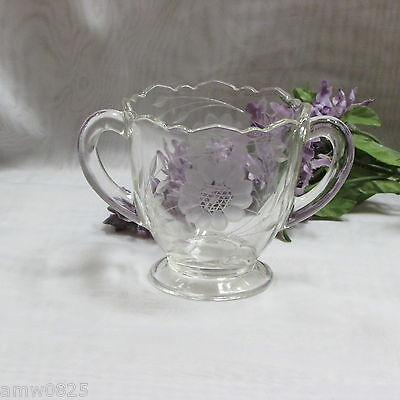 Vintage Hughes Cornflower Sugar Bowl Footed Etched Clear Glass Flower Leaves