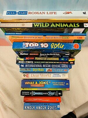 Bulk kids non-fiction books VGC inc educational jokes world history cricket book