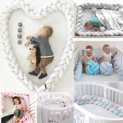 1/3/4M Infant Plush Crib Bumper Bed Bedding Cot Braid Pillow Pad Protector - AU