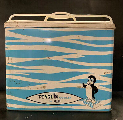PENGUIN COOLER by WILLOW Vintage 1960's Metal Esky Portable Ice Cooler BOXED