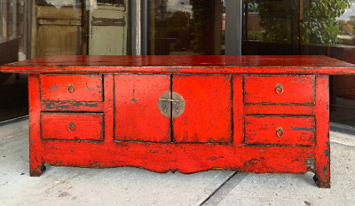 Vintage Chinese Hand Carved Red Lacquer Low Table/Cabinet/ Console