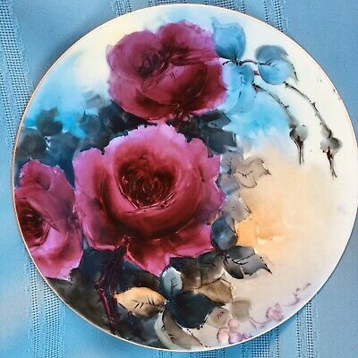 """Antique J.P.L. FRANCE Hand Painted Roses Plate 8 1/4"""" Magenta Pink"""