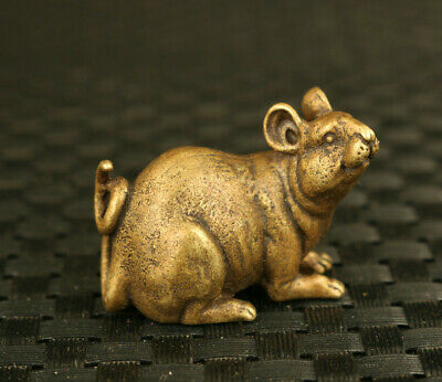 Fortune old chinese bronze hand casting mouse statue Hand pieces collect gift