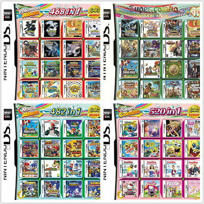 468/482/208/520 In 1 Games Game Multi Cartridge for DS NDS NDSL NDSi 3DS 2DS